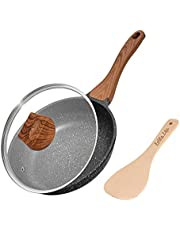 ESLITE LIFE Frying Pan Nonstick Skillet Induction Omelette Fry Pan with Wooden Spatula and Granite Coating (8 inch)