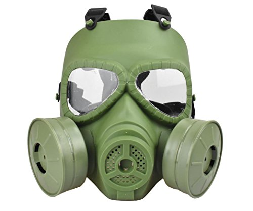Jadedragon Tactical Paintball mask Full Face Eye Protection PC Skeleton Mask with Double Filter Fan for Cosplay Protection Zombie Soldiers Halloween (Green)