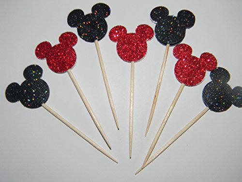 24 Black and Red Glitter Mickey Mouse inspired cupcake toppers food picks birthday party décor shower (Mickey Mouse Cupcake Picks)