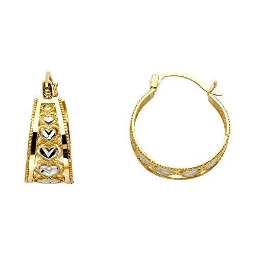 14k Two Tone Gold Heart Design Tapered Hoop Earrings