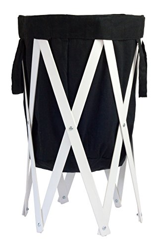 MAX + RAE Collapsible Laundry Hamper with White Wood Frame | Dirty Clothes Storage | Removable Fabric Bag with Handles, Easy to Carry and Clean | Nursery, Kids Bedroom, Bathroom (Black) by MAX + RAE