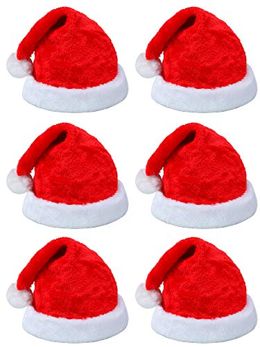 Elcoho 6 Pack Santa Red Hat Short Plush with White Cuffs Plush Fabric Christmas Hat Santa Hat for Adults ()