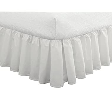 "Fresh Ideas Bedding Ruffled Bedskirt, Classic 14"" drop length, Gathered Styling, Full, White"