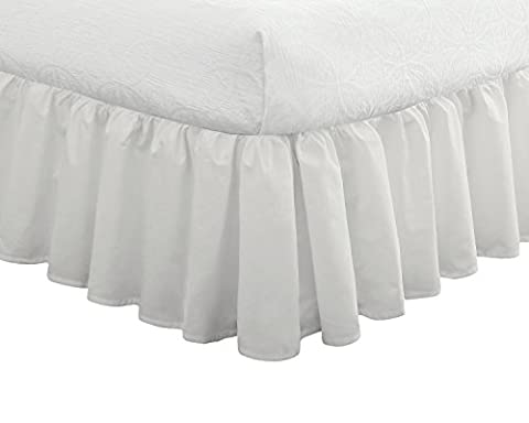 """Fresh Ideas Bedding Ruffled Bed Skirt, Classic 14"""" drop length, Gathered Styling, Twin, White (Bedskirt For Twin Bed)"""