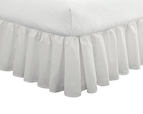 "(Fresh Ideas Bedding Ruffled Bed Skirt, Classic 14"" drop length, Gathered Styling, Full, White)"