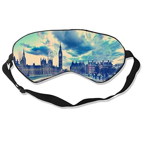 Sleep Mask Vintage London Big Ben Red Telephone House Street Eye Mask Cover With Adjustable Strap Eyeshade For Travel, Nap, Meditation, Blindfold -