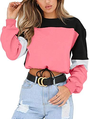 Angashion Womens Sweatshirt-Long Sleeve Drawstring Hem Color Block Crop Top Pullover Tops Pink S