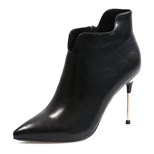 KPHY-Sexy New Winter Plus samt High-Heeled Stiefel Damen mit feiner Reißverschluss Spitze V-blanken Stiefel seitlicher Reißverschluss feiner Martin Stiefel schwarz c5ea49