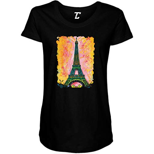 Paris Eiffel Tower - France Monument Artistic Side Ruched Maternity T-Shirt (Black, Medium)