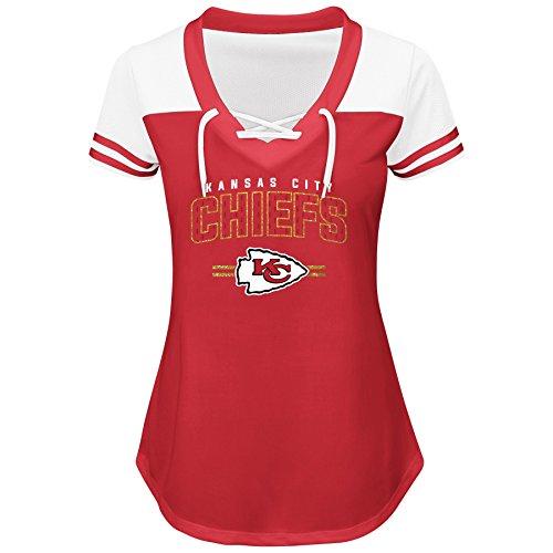 NFL Team Apparel NFL Kansas City Chiefs Women S/S MESH V NECK, RED/WHITE, (Mesh V-neck Sport Shirt)
