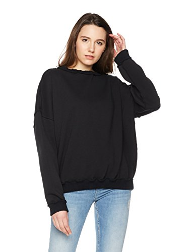 Something for Everyone Women's Exposed Outseam Fleece Sweatshirt Small Black