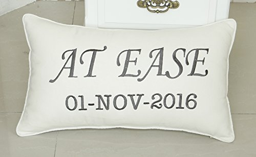 DecorHouzzPillow, At Ease Pillowcases, Embroidered Phrase pillow, Military Gift, Military Retirement Gift, Army gift, Soldier Gift,Decorative - Pillow Phrase Gift
