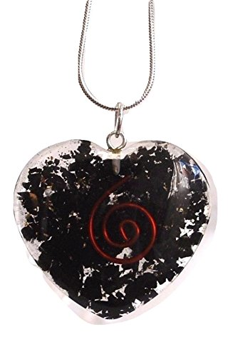 Reiki Energy Charged Chakra Orgone Crystal Heart Pendant with Silver Chain (Beautifully Gift Wrapped) 7psfOTn8
