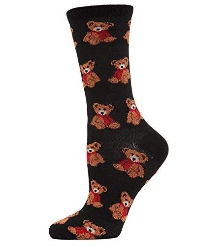 MeMoi Christmas Bear Crew Socks | Women's Fun Novelty Socks Black MF7 964 One Size 9-11