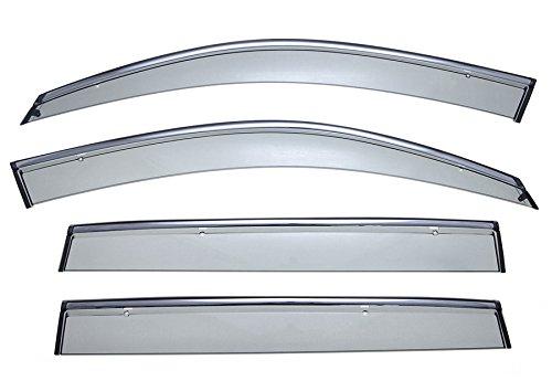 WellVisors Sleek HD Side Window Visor Smoke Chrome Trim Clip On