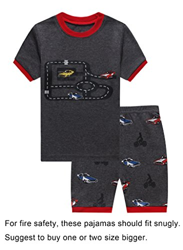 Family Feeling Truck Little Boys Short Sleeve Pajamas Sets 100% Cotton Pyjamas Kids Pjs Size 6 Grey