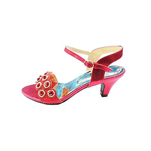 Wear & Walk UK Women Ladies Evening Fashion Sandal Comfort Diamante Bridal Wedding Platform Shoes Size Red puD2V