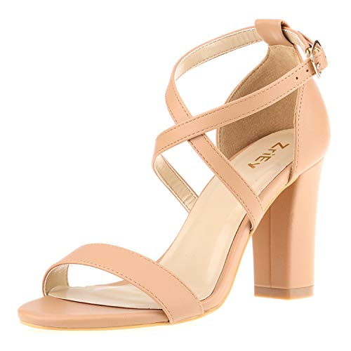 ZriEy Women's Chunky Block High Heels Across Strappy Sandals Fashion Sexy Heeled Sandals ()