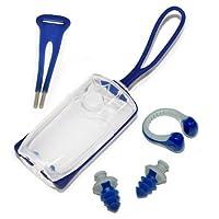 Auricular y clip de nariz de silicona con esfera Aqua Sphere, azul marino /gris