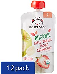 Amazon Brand - Mama Bear Organic Baby Food Pouch, Stage 2, Apple Banana Yogurt Strawberry, 4 Ounce Pouch (Pack of 12)