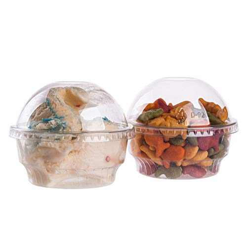 GOLDEN APPLE, 5oz-30sets Clear Plastic Cups for Ice Cream, Dessert Cups, Snack Bowl with Dome lids no Hole