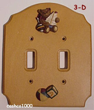 - TEDDY BEAR Wood DOUBLE Switchplate COVER switch decor
