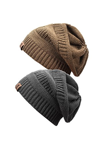 Trendy Warm Chunky Soft Oversized Thick Stretch Slouchy Winter Cable Knit Skully Beanie Cap (Set of Two), Charcoal & Camel