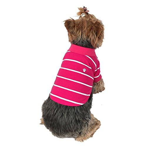 Stripe Dog Polo - Anima Hot Pink-White Stripe Polo Style Pet Shirt Clothes, X-Small