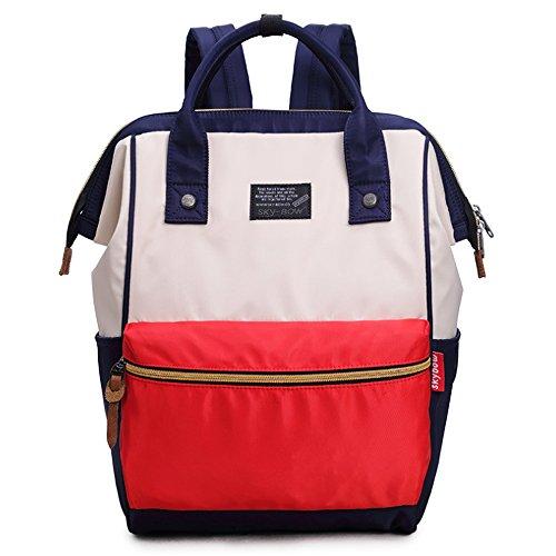 (JVP1077-L) Rucks de las mujeres Bolso de hombro del bolso de nylon Anillo impermeable Anillo de la escuela secundaria Estudiante de gran capacidad Volver a la moda Popular Escuela linda Luz suburbana Roja