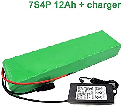 Seilylanka con Cargador 24V 12Ah 25.9V Batería de Iones de Litio E-Bike Bicicleta eléctrica 7S4P 38x68x260mm