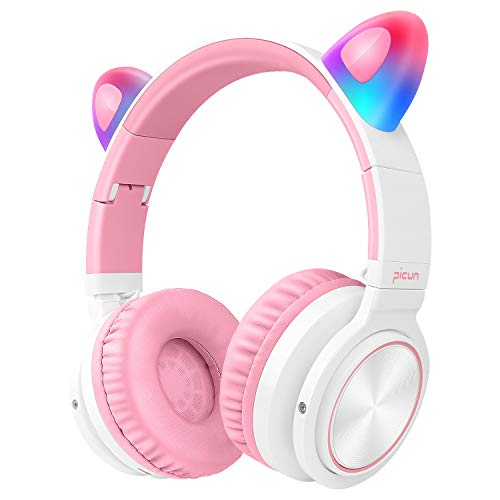 Picun Bluetooth Headphones for Girls, 40H Playtime Cat Ear Light Up Foldable Stereo Wireless/Wired/TF Headphones with…