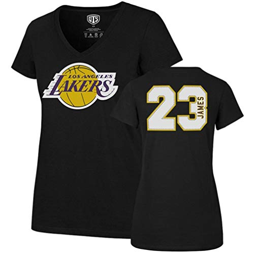 Adult T-shirt James - OTS NBA Los Angeles Lakers Women's Rival V-Neck Tee, Small, Lebron James Jet Black