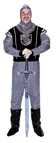 Noble Man Costumes (Men Renaissance Costume Noble Warrior Black Knight Costume With Hood Large)