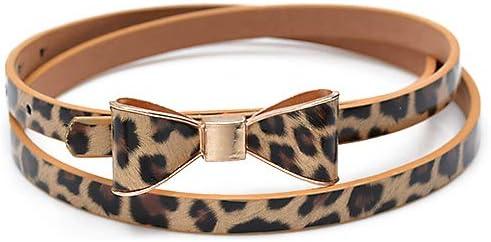 DarweirlueD - Cinturón de Piel sintética para Mujer (Ajustable), Color Caramelo, Leopardo
