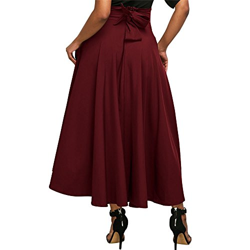 Jessica CC Women' s High Waist Pleated A-line Long Skirt Front Slit Belted Maxi Skirt, Red, XX-Large by Jessica CC (Image #2)