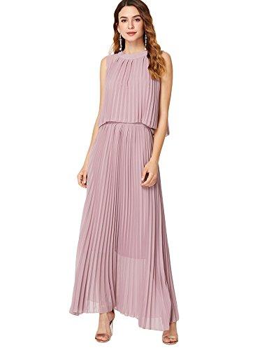 Milumia Women's Pleated Hem Ruffles Sleeveless Empire Waist Chiffon Solid Long Maxi Dress Small Pink