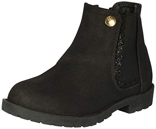 Nicole Miller New York Toddler Girls Faux Suede Ankle Bootie, Black Glitter, 7 M US Toddler' ()