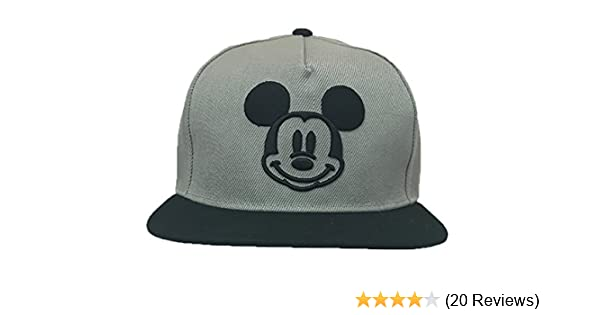 610b98d5036 Amazon.com  Disney Adults Mickey Mouse Smiley Icon Flat Bill Snapback Cap  Grey Black  Clothing