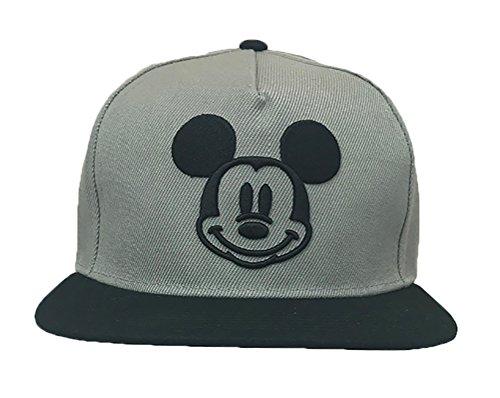 Disney Adults Mickey Mouse Smiley Icon Flat Bill Snapback Cap Grey/Black ()