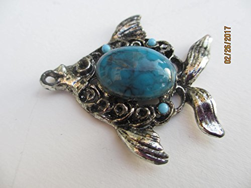 Beautiful Vintage Art Deco Antique Silver Turquoise Fish Pendant, Tropical Turquoise Fish ()
