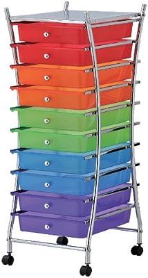 mondex INX404-00 - Mueble Auxiliar con Ruedas y 10 cajones (Metal, 32,5 x 39,5 x 84 cm), Multicolor: Amazon.es: Hogar