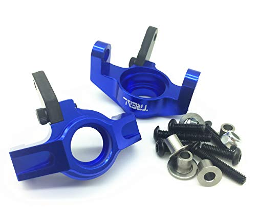 Treal Aluminum&Carbon Fiber Steering Front Knuckles for Axial Wraith RR10 Bomber (Blue)