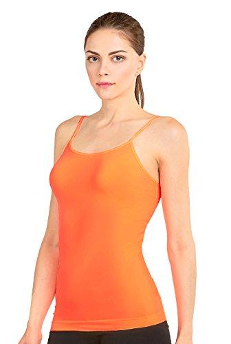 Fitted Short Sleeve Camisole - MOPAS Women's Seamless Nylon Camisole Tank Top - N.Orange