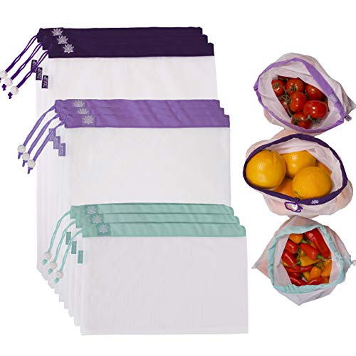 (Lotus Produce Bags - Set of 9 Premium Mesh reusable produce bags. 3 Sizes. Washable mesh vegetable produce bags. Eco-friendly bags. Perfect for fruits, veggies, nut milk and more.)