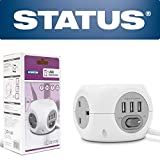 Status 3 Way 1.4 Metre Cube Extension Socket With 3 USB Port - White