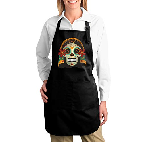 OURFASHION Apron Mummy Skull Adjustable Bib Apron with Pockets for Women and Men Home Kitchen Garden Restaurant Cafe Bar Pub Bakery -