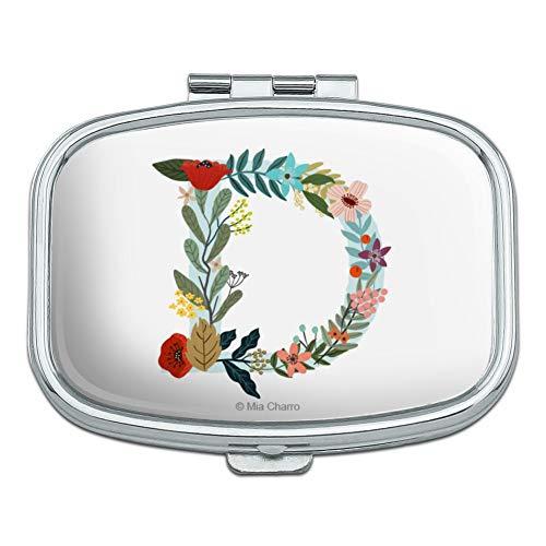 Letter D Floral Monogram Initial Rectangle Pill Case Trinket Gift ()