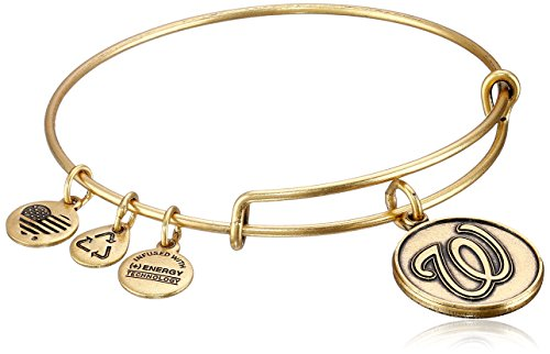 (Alex and Ani Washington Nationals Cap Logo Expandable Rafaelian Gold Bangle Bracelet)