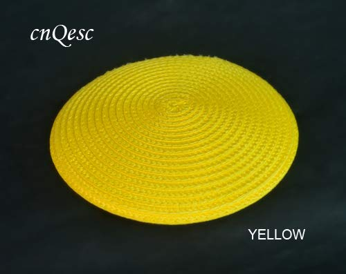 YELLOW Halica 14cm Round PP Straw Base Disc Saucer Fascinator Base for Sinamay Fascinator Hair Accessory Church Wedding Derby.  (color  Yellow)