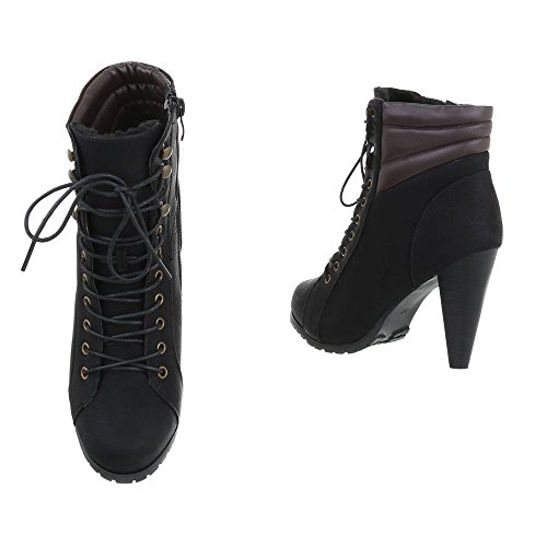 Women's Boots Stiletto Heeled Ankle Boots at Ital-Design Schwarz B2805FE-KB Hd34IFP